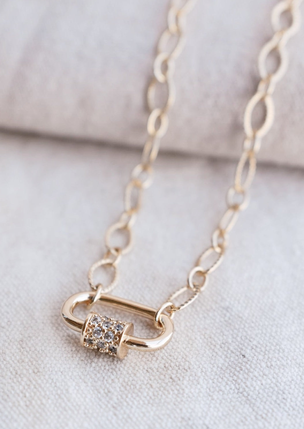 Gold Carabiner Textured Chain Necklace