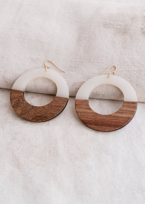 Wood and White Acrylic Hoops