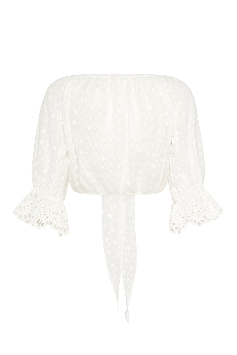 Spell Daisy Chain Tie Top-White