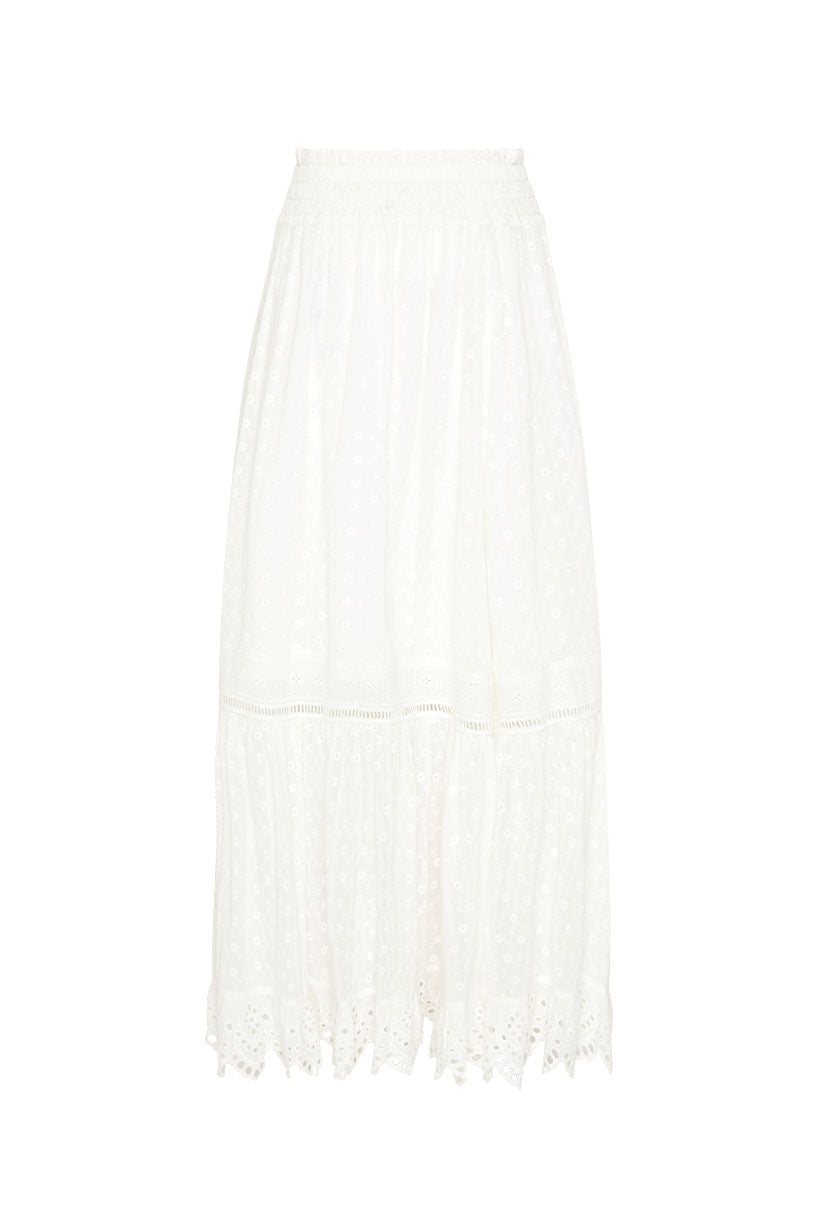 Spell Daisy Chain Maxi Skirt-White
