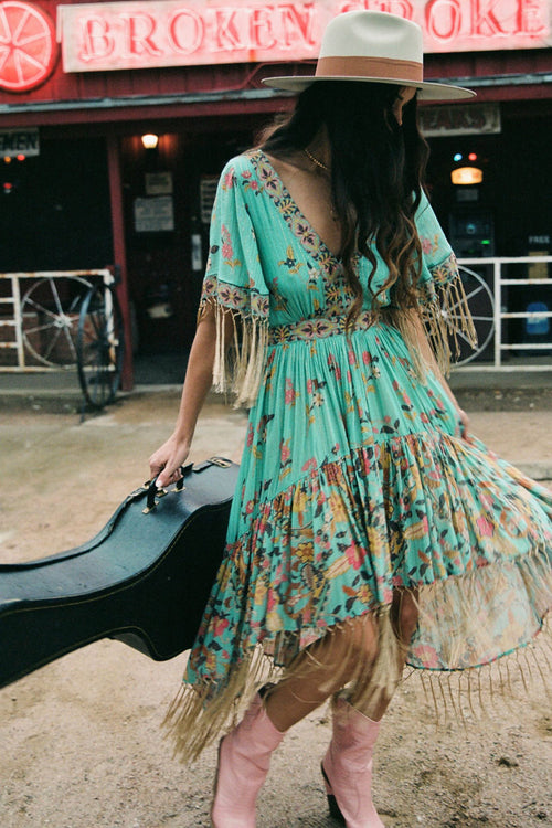 Spell Hendrix Tassled Dress-Sky