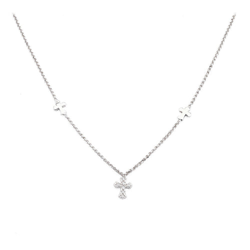 Sterling Silver choker with 3 Crosses