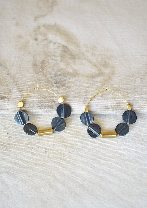 18 K Gold Plated Hoops with Black Tribal Beads