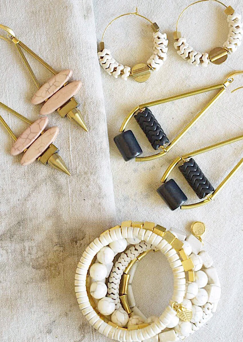 Natural Stone and Brass Spike Earrings