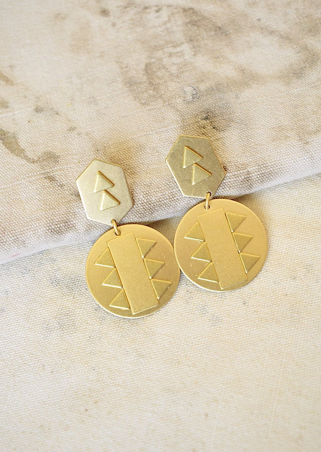 Brass Post Earrings with Tribal Geo Designs