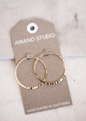 Handmade Hammered 1.5 inch Hoops