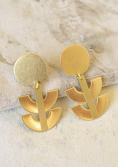 Brass Coin Post Earring with Double U Shaped Drops
