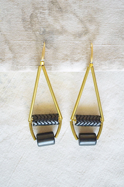Teardrop Brass and Tribal Inspired Bead Earrings