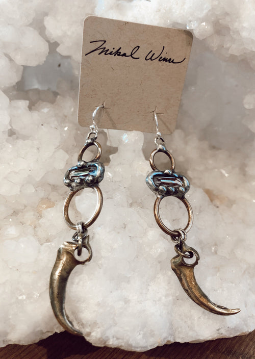 Swarovski Brass Claw Earrings