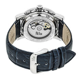 Reign Stavros Automatic Skeleton Leather-Band Watch - Silver/Navy REIRN3702