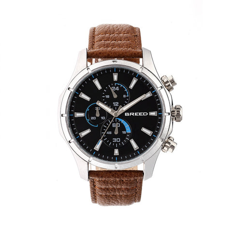 Breed Lacroix Chronograph Leather-Band Watch - Silver/Brown