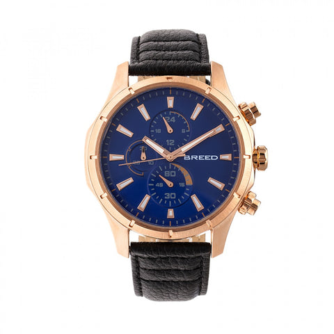 Breed Lacroix Chronograph Leather-Band Watch - Rose Gold/Dark Brown BRD6803