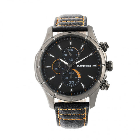 Breed Lacroix Chronograph Leather-Band Watch - Gunmetal/Charcoal BRD6805