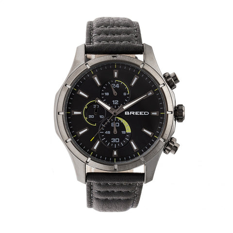 Breed Lacroix Chronograph Leather-Band Watch - Gunmetal/Grey BRD6806