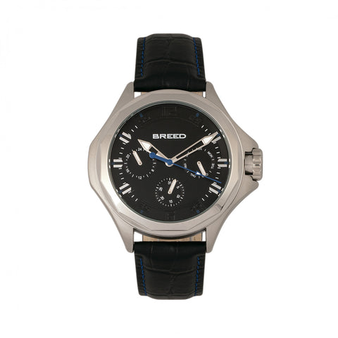 Breed Tempe Leather-Band Watch w/Day/Date - Black/Silver - BRD6902