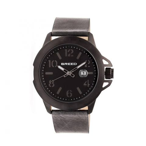 Breed Bryant Leather-Band Watch w/Date - Black/Grey BRD7103
