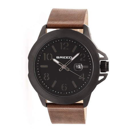 Breed Bryant Leather-Band Watch w/Date - Black/Brown BRD7104