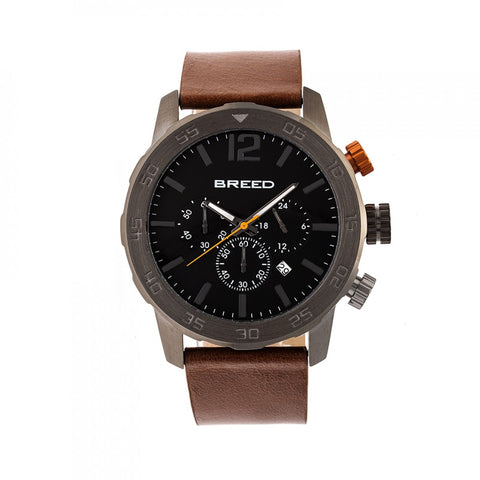 Breed Manuel Chronograph Leather-Band Watch w/Date - Gunmetal/Brown BRD7205