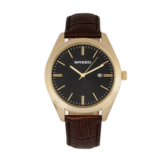 Breed Louis Leather-Band Watch w/Date - Brown/Black