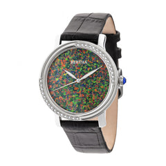 Bertha Courtney Opal Dial Leather-Band Watch - Black