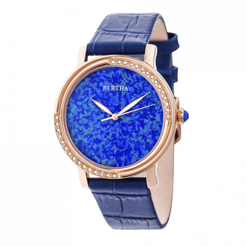 Bertha Courtney Opal Dial Leather-Band Watch - Blue BTHBR7905