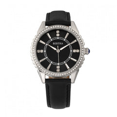 Bertha Clara Leather-Band Watch - Black