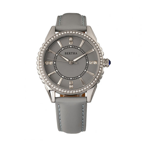 Bertha Clara Leather-Band Watch - Grey