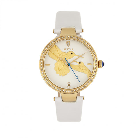 Bertha Nora Leather-Band Watch - White  - BTHBR8505