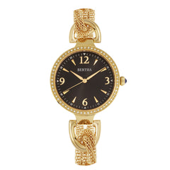Bertha Sarah Chain-Link Watch w/Hanging Charm - Gold/Black