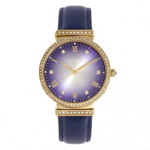 Bertha Allison Leather-Band Watch - Purple BTHBR9304