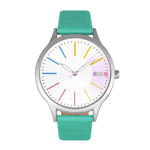 Crayo Gel Leatherette Strap Watch - Teal CRACR5102
