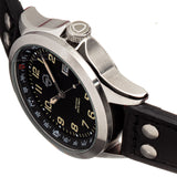 Shield Palau Leather-Band Men's Diver Watch w/Date - Silver/Black SLDSH104-1