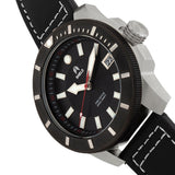 Shield Shaw Leather-Band Men's Diver Watch w/Date - Silver/Black SLDSH106-2