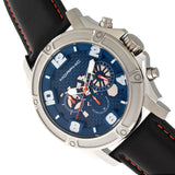 Morphic M73 Series Chronograph Leather-Band Watch - Silver/Blue MPH7303