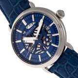 Heritor Automatic Mattias Leather-Band Watch w/Date - Silver/Blue  HERHR8403