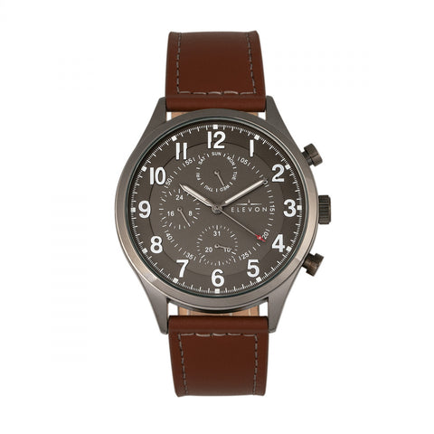 Elevon Lindbergh Leather-Band Watch w/Day/Date -  Brown/Gray