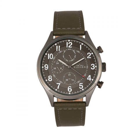 Elevon Lindbergh Leather-Band Watch w/Day/Date -Olive/Grey ELE102-6