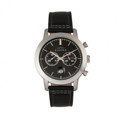 Elevon Langley Chronograph Leather-Band Watch w/ Date - Black