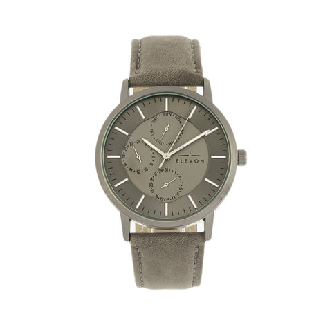 Elevon Lear Leather-Band Watch - Grey/Gunmetal