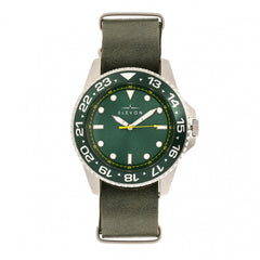 Elevon Dumont Leather-Band Watch - Silver/Green
