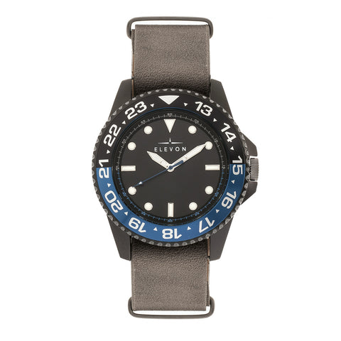 Elevon Dumont Leather-Band Watch - Black/Gray ELE108-5