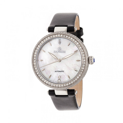 Empress Louise Mother-Of-Pearl Leather-Band Watch - Silver EMPEM2301