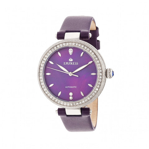 Empress Louise Mother-Of-Pearl Leather-Band Watch - Purple EMPEM2302