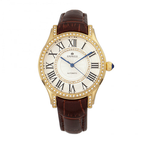 Empress Xenia Automatic Leather-Band Watch - Brown EMPEM2603
