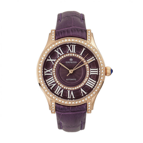 Empress Xenia Automatic Leather-Band Watch - Purple