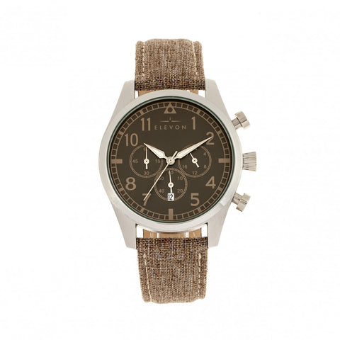 Elevon Curtiss Chronograph Leather-Band Watch - Silver/Brown ELE104-2