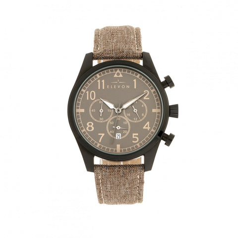 Elevon Curtiss Chronograph Leather-Band Watch - Beige/Black ELE104-5