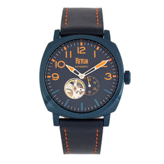 Reign Napoleon Semi-Skeleton Leather-Band Watch - Navy