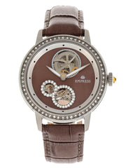 Empress Tatiana Automatic Semi-Skeleton Leather-Band Watch - Brown EMPEM2903