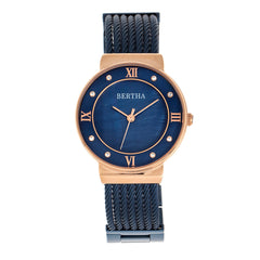 Bertha Dawn Mother-of-Pearl Cable Bracelet Watch - Rose Gold/Blue